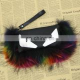 Fashion raccoon fur leather bag for girl high quality real fur purse