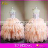 Full Length Sweetheart Neckline Beaded Organza Top And Skirt Ball Gown Patterns Vestidos De Quinceanera