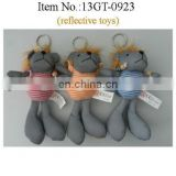 16cm animal keychain with hats and T-shirts, reflective plush lion toys keychain,3 colors