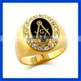 Newest jewelrystainless steel rings masonic signet ring