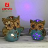European-style creative retro home LED lamp hollow-out owl resin crafts decorations