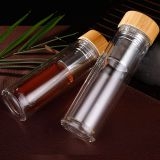 Double Wall Eco Pyrex Borosilicate Glass Tea Filter Infuser Drinking Water Bottle With Top Bamboo Lid