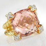 Gold Plated Silver Jewelry Morganite Cushion on Point Ring(R-143)