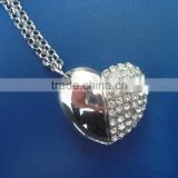 Fashional heart shape crystral usb flash drives, wholesales full capacity crystal usb pendrive