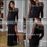 Beautiful Fully Beaded Bateau Neckline Front Slit Black Chiffon Evening Dress For Muslim