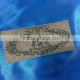 Cost price high quality black and gold woven label for clothing
