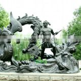 Bronze warrior playing with dragon statue