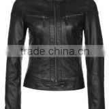 Fashionable new arrival ladies autumn/spring leather jacket new design black women leather