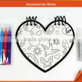 kids painting arts for DIY heart shaped drawing notebooks