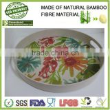 round flower printed tray bamboo fibre eco-friendly homeware stackable food holder trays