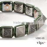 Classic Beads Design 8mm High End Jewelry 316L Stainless Steel Green Black Red Rope Adjustable Size Pyramid Bracelet