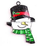 2016 Alloy Electrophoresis black Christmas Snowman cartoon charm Rhinestone Pendants for kid's Necklace Jewelry
