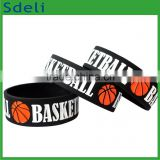 hot sale basketball debossed cheap custom nba silicone bracelet