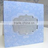 2016 hot sale romantic light blue acrylic wedding invitations with white screen printing&snowflake