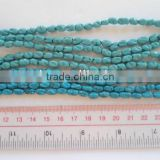 Wholesale synthetic strip blue turquoise rice beads carve jewelry