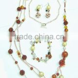 Wholesale fashion necklace red agate round beads necklace with earring and bracelet jewelry