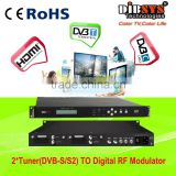 Hot-sale multichannel digital rf modulator dvb-s/s2 to DVB-C/DVB-T/ATSC-T/ISDB-T modulator with remote controler