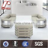 Light Grey Leather Office Sofa, Stainless Steel Frame Office Sofa, Modern Sectional Sofa SF-73