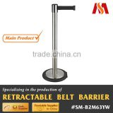 Stainless Steel Retractable belt Rolling Away Wheel Stanchion with rolling away wheel base