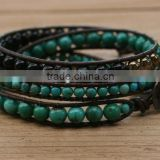 Turquoise Triple Wrap Leather Beaded Bracelet. Semiprecious beads. Czech glass, copper button.