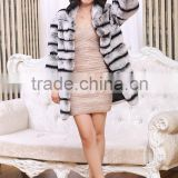 Hot selling Rex Rabbits Chinchilla Fur Coats With Hood / Natural Fur Coat / Real Fur Jackets