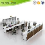 Straight 3 person workstation with pedestals for call center saving space office furniture