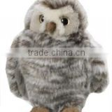 plush stuffed soft Grey Owl Standing logo custom imprinted bandana beanbag t-shirt bib tie ribbon animal toys