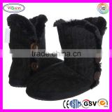 C562 Luxury Ladies Knit Indoor Slipper Boot with Faux Fur Lining Black Knit Boot