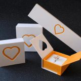 Double Open Door Heart Pattern Paper Ring Box Jewelry Bracelet Box Cardboard Earring Box Necklace Box