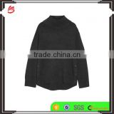 High Quality Slips On Charlcoal Wool and Cashmere-Blend Turtleneck Sweater with Scoop Hem