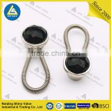 Removable metal button collar extenders with spring for shirts/jeans/trousers with black crystal mounted