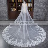HSP1702 Luxury Real Photo Wedding Veils 3 Meters Long Lace Appliqued Bridal Veil