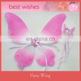 New style Foldable heart pink painting Wholesale butterfly fairy wing and wand kit for party decoratoin