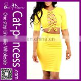 New design half sleeves celebrity sexy yellow bandage bodycon dress