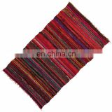 Wholesale Chindi carpet floor Rag Rug Hand Woven 5'x3' Area Floor Mat Indian Wall Decor Cotton Mat