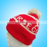 Jaquard beret knitted hats with top ball