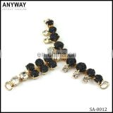 Newest design gold plate black drop and small clear A-class rhinestone crystal chain buckle for sandal