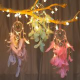 popular handmade indian dream catcher feather with led light home decoration