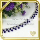 Brass wedding decor royal blue rhinestone chain costume chain applique crystal trims FC615                                                                                                         Supplier's Choice