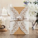 2016 Floral Laser Cut Kraft Wedding Invitations Philippines with Envelope