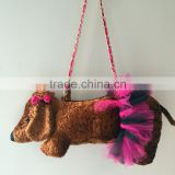 Custom lovely stuffed plush dog toy bag for babies and kids