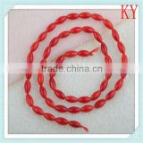 rough red coral rice beads