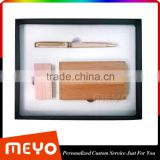 Custom Logo Painting Promotional Gift Wooden Ballpoint Pen Card Case And Wooden USB Flash Device