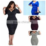 F20095A New fashion fat women dresses deep v neck slim packet hip plus size dress