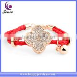 Beautiful red rope chain bracelet clover charm crystal bracelet bangle wholesale ( YWH5064)