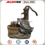 "23.2"" wooden barrel and bronze duck pump water feature fountain, garden decorative fountain"