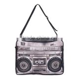 2016 hot fashion 3D BOOM BOX printing one side leather courier bags Shoulder bag message bags