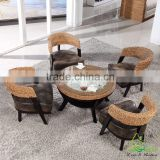 2016 New Modern Design Rattan Water Hyacinth Wooden Coffee Shop Tables and Chairs Set                                                                         Quality Choice