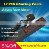 10 usb ports charger 5V High Speed 2.0 USB Hub Expansion Power Adapter For IPhone 4/45/5/6 Samsung Tablet