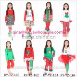 2015 baby girls elk applique chiffon ruffle top and stylish red&green polk dot pants set,christmas outfits for kids